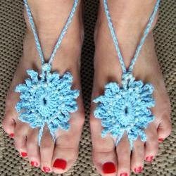 Barefoot Sandals Light Blue Beaded Pearl Crochet, Beach wear, Nude shoes, Foot jewelry, Wedding, Victorian, Lace, Sexy, Yoga, Pool
